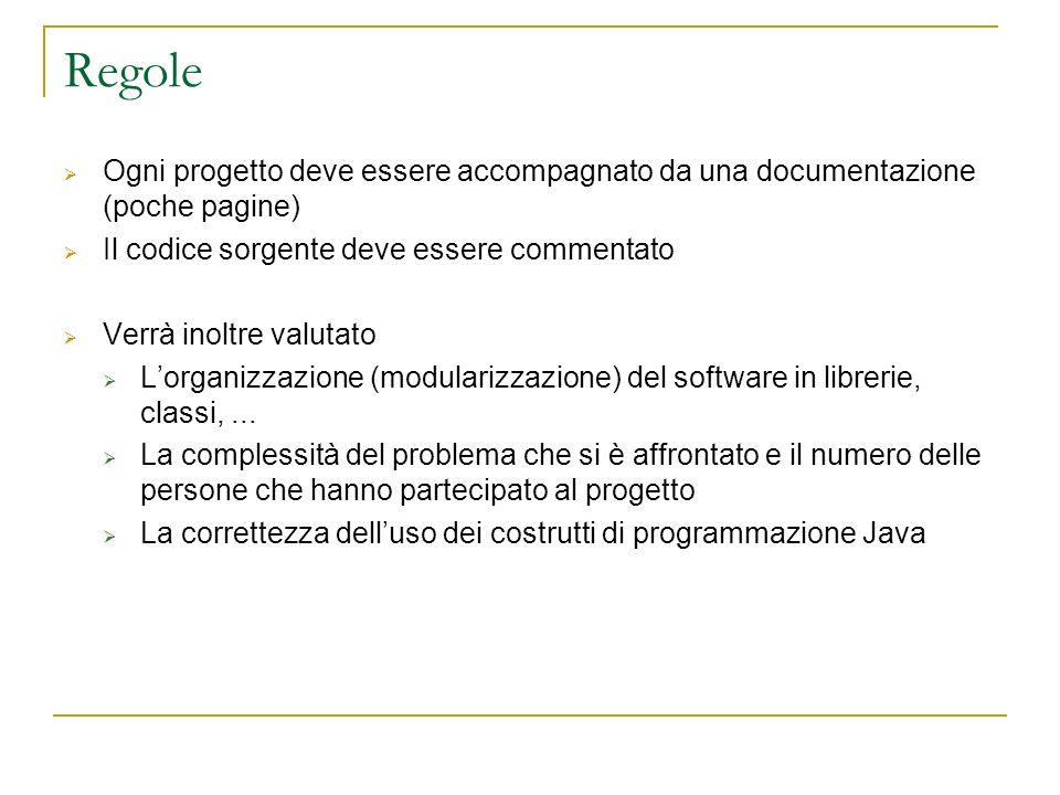 Regole Ogni progetto deve essere accompagnato da una documentazione (poche pagine) Il codice sorgente deve essere commentato.