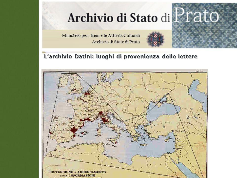 L'archivio Datini: luoghi di provenienza delle lettere