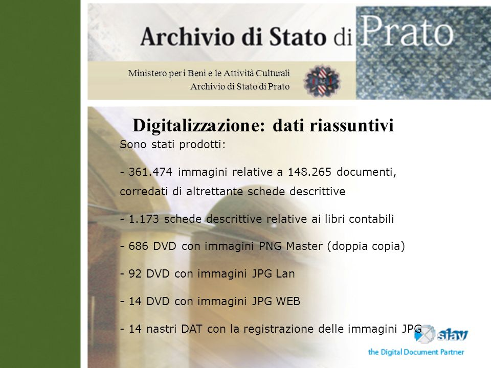 Digitalizzazione: dati riassuntivi