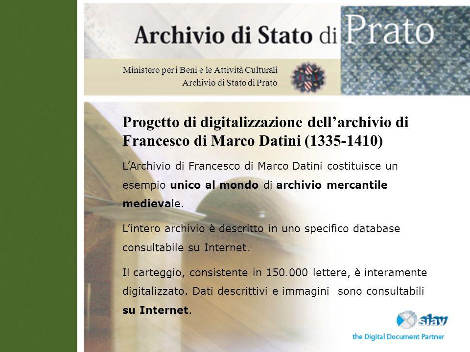 Progetto di digitalizzazione dell'archivio di Francesco di Marco Datini (1335-1410)