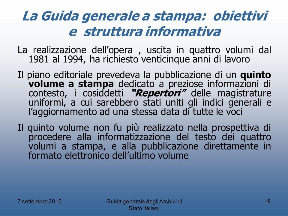 La Guida generale a stampa: obiettivi e struttura informativa