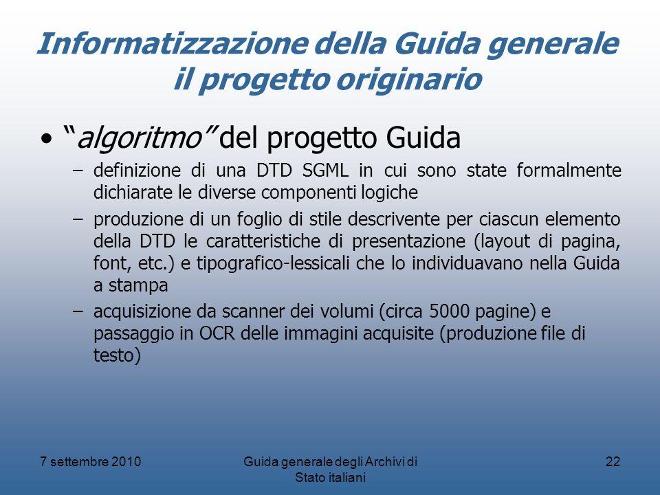 Informatizzazione della Guida generale il progetto originario