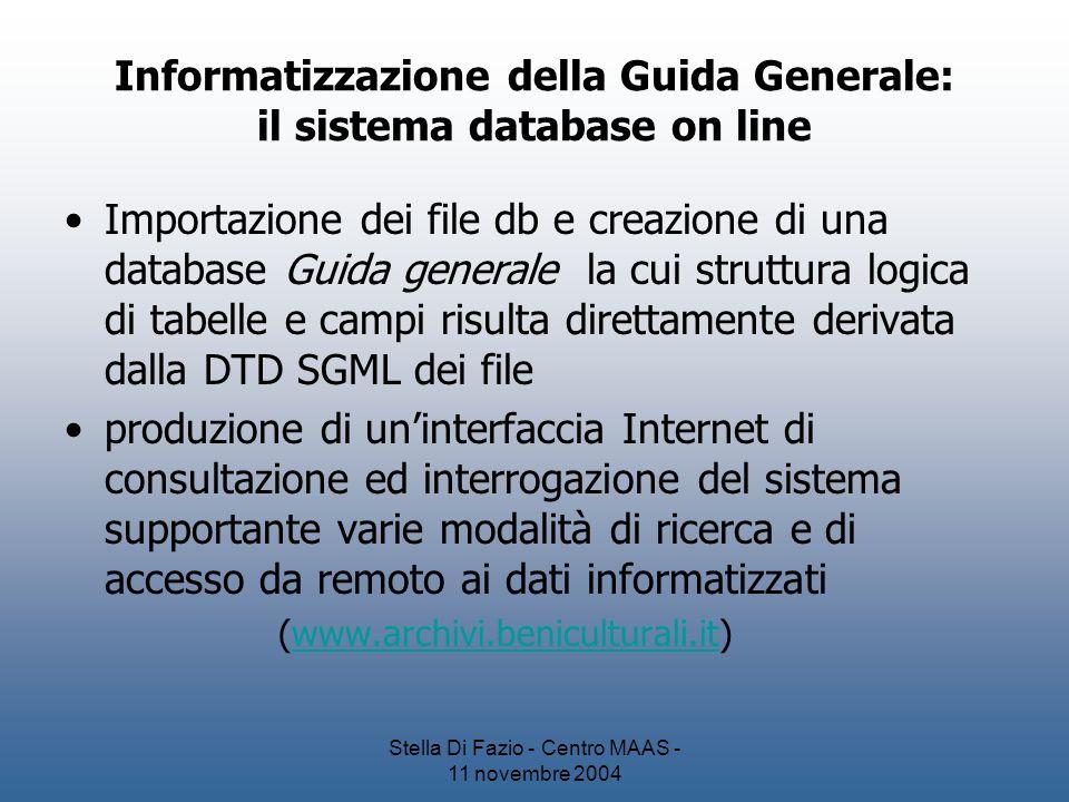 Informatizzazione della Guida Generale: il sistema database on line
