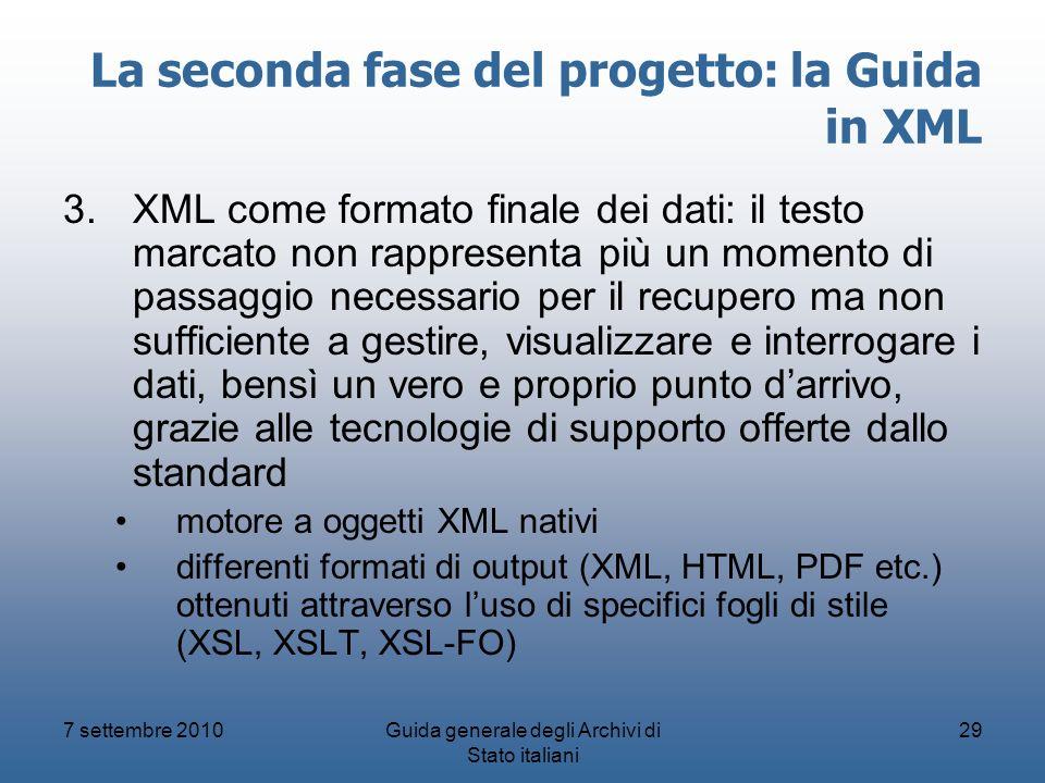La seconda fase del progetto: la Guida in XML
