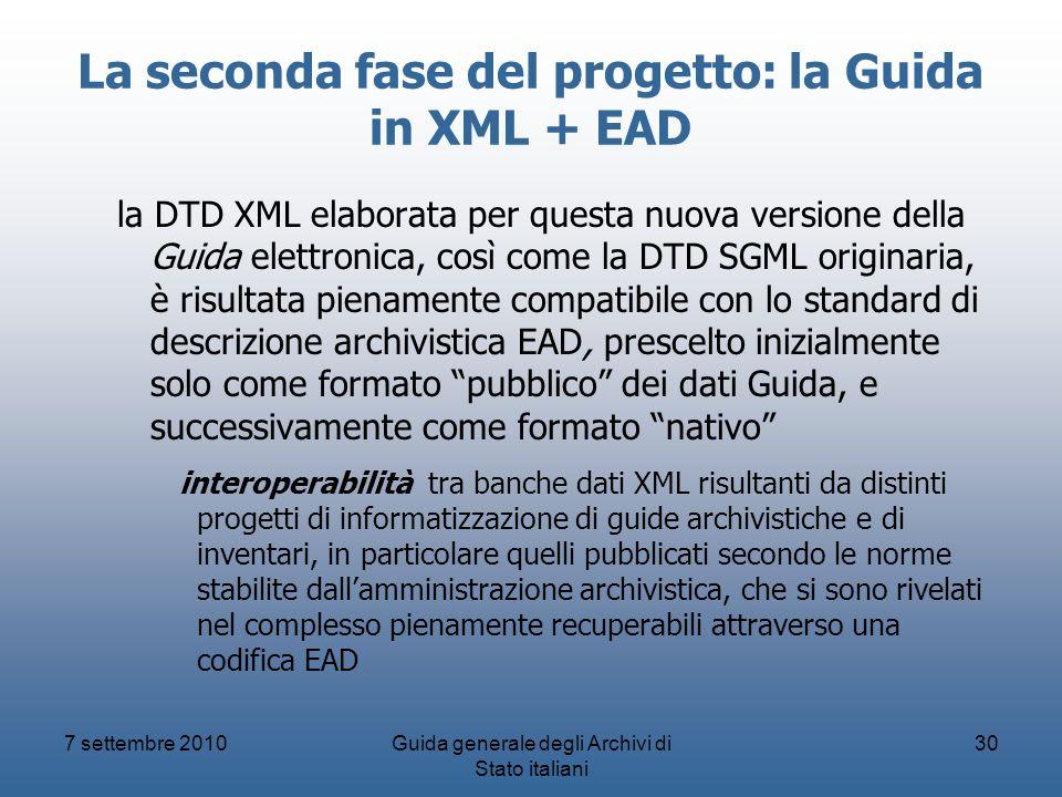 La seconda fase del progetto: la Guida in XML + EAD
