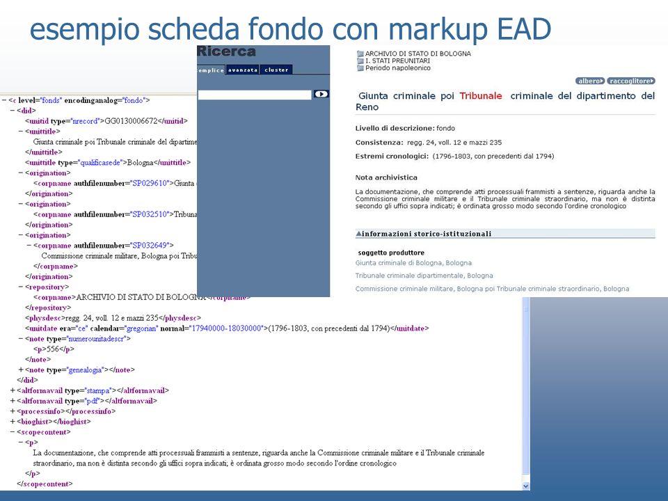 esempio scheda fondo con markup EAD