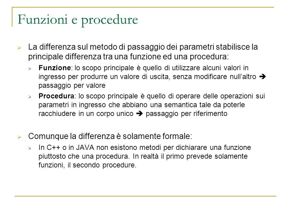 Funzioni e procedure La differenza sul metodo di passaggio dei parametri stabilisce la principale differenza tra una funzione ed una procedura: