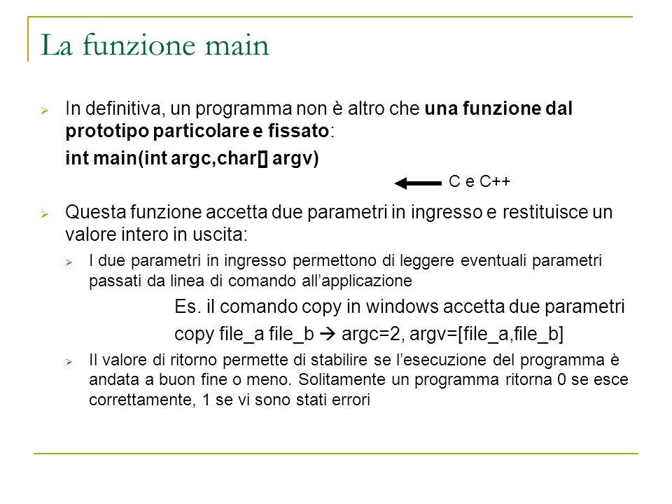 La funzione main In definitiva, un programma non è altro che una funzione dal prototipo particolare e fissato: