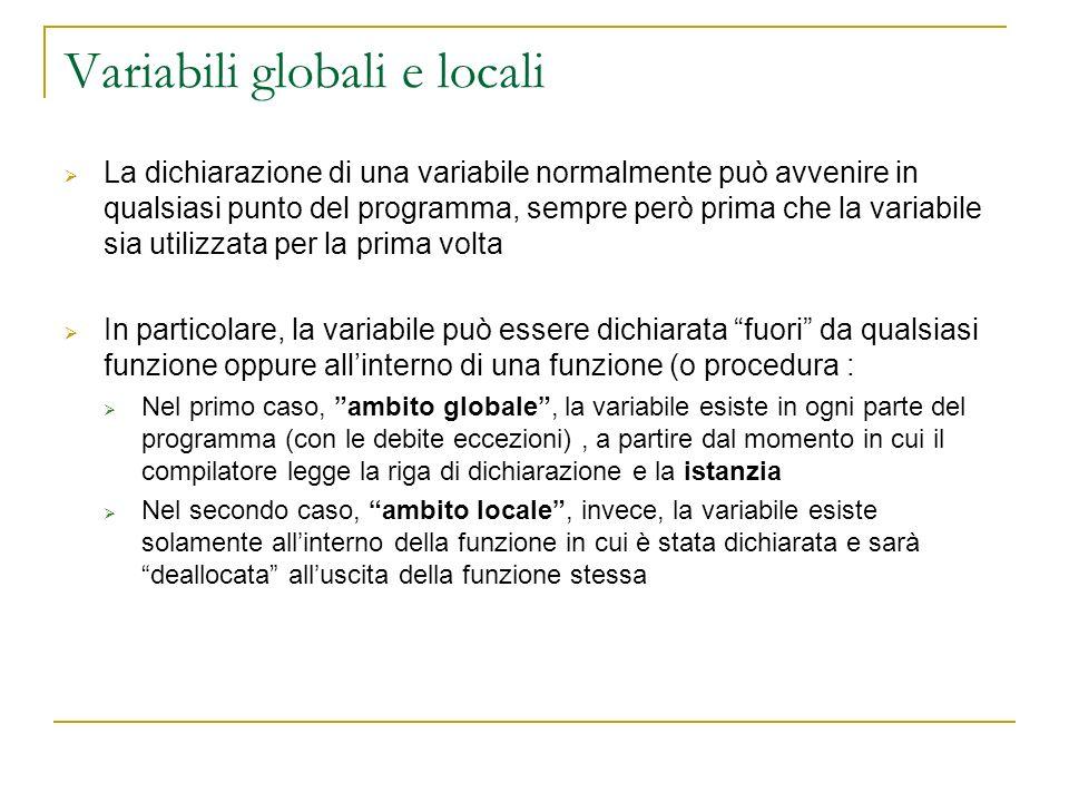 Variabili globali e locali