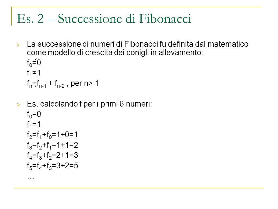 Es. 2 – Successione di Fibonacci