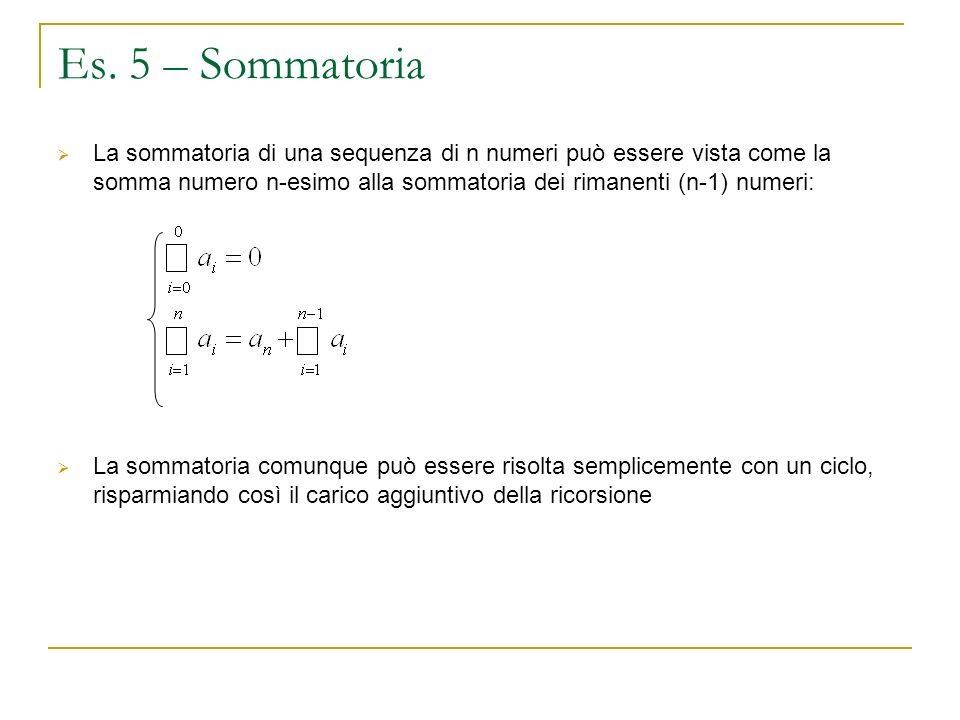Es. 5 – Sommatoria