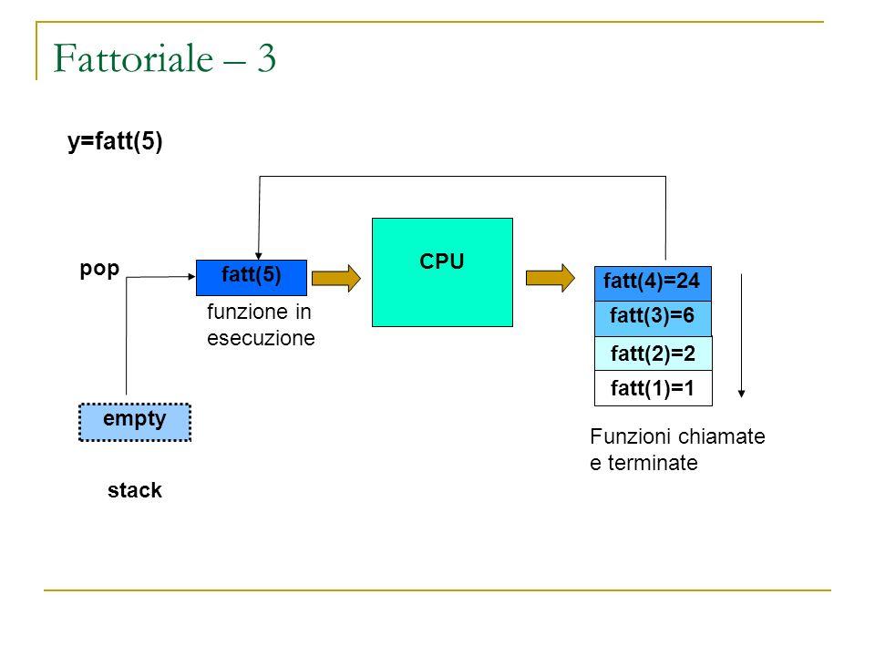Fattoriale – 3 y=fatt(5) CPU pop fatt(5) fatt(4)=24