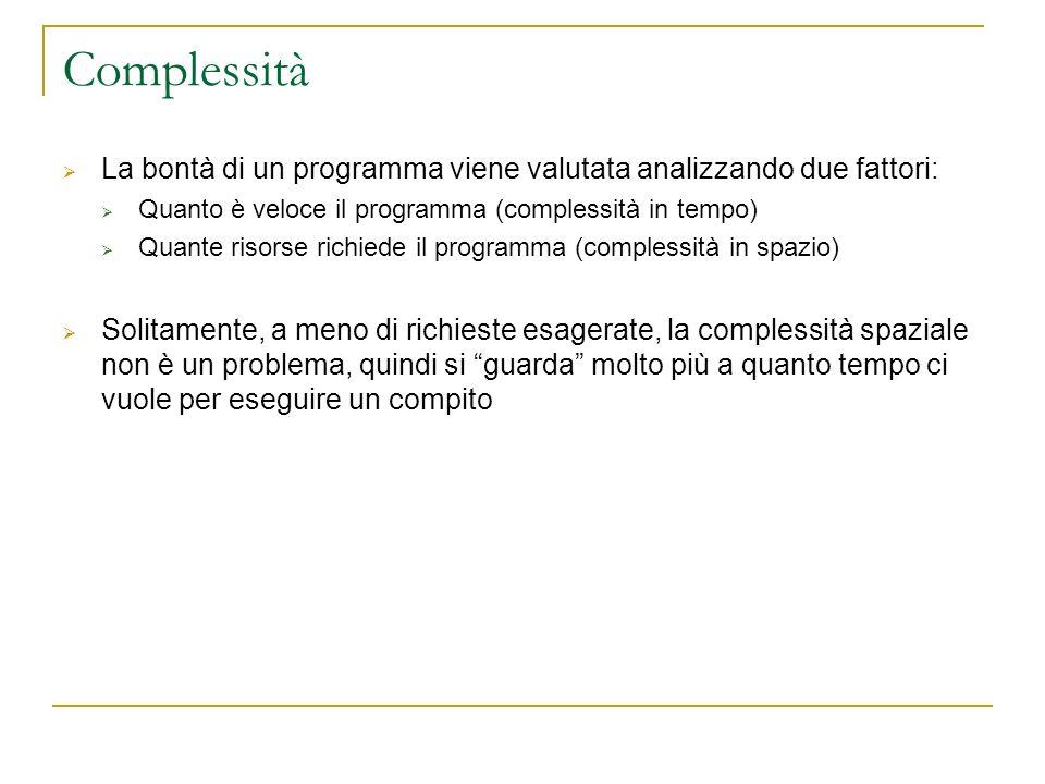 Complessità La bontà di un programma viene valutata analizzando due fattori: Quanto è veloce il programma (complessità in tempo)