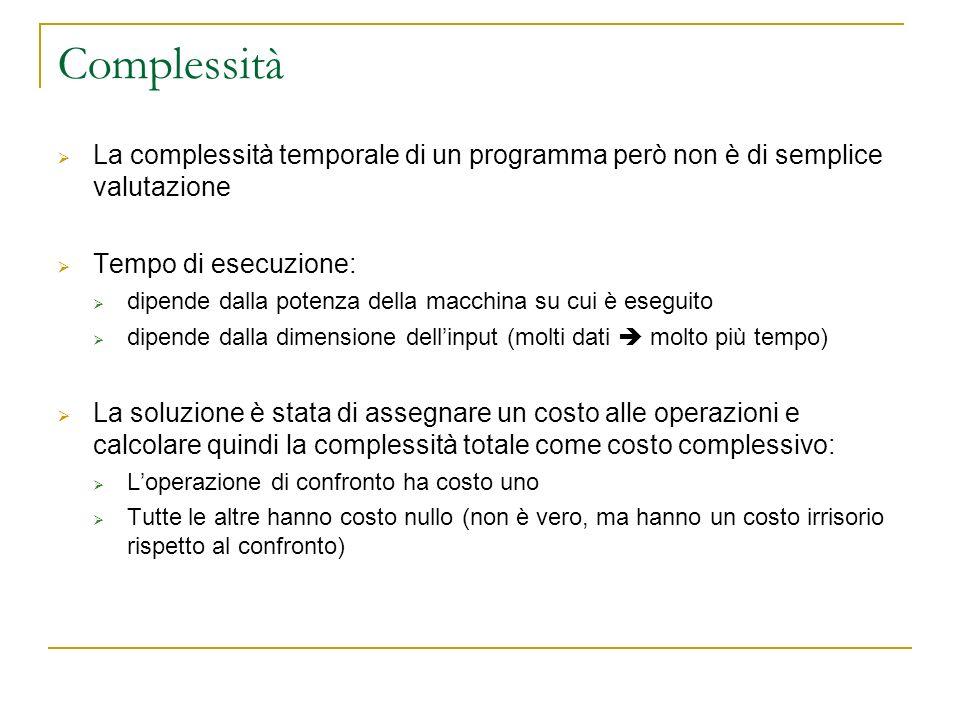 Complessità La complessità temporale di un programma però non è di semplice valutazione. Tempo di esecuzione: