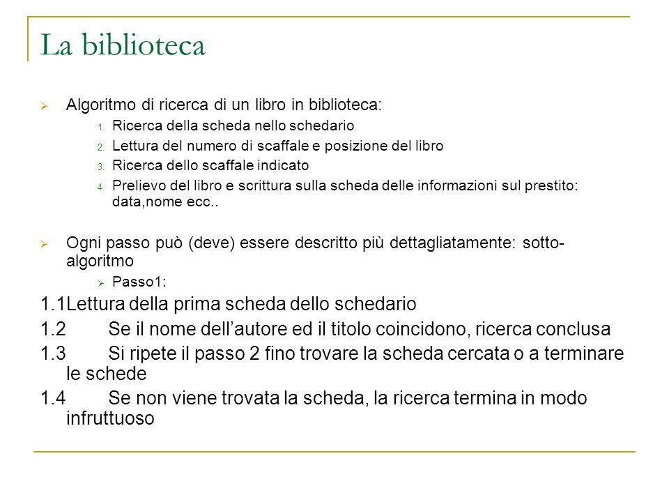 La biblioteca 1.1 Lettura della prima scheda dello schedario