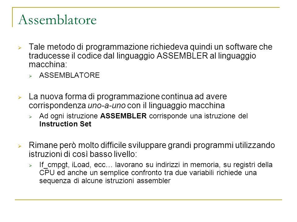 Assemblatore Tale metodo di programmazione richiedeva quindi un software che traducesse il codice dal linguaggio ASSEMBLER al linguaggio macchina: