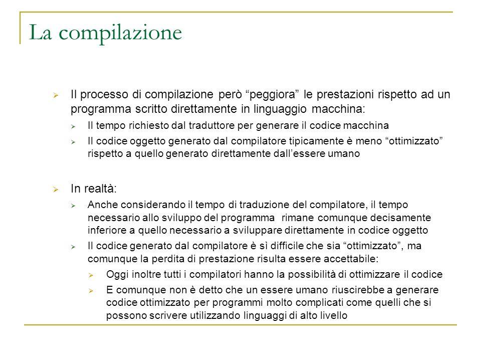 La compilazione Il processo di compilazione però peggiora le prestazioni rispetto ad un programma scritto direttamente in linguaggio macchina: