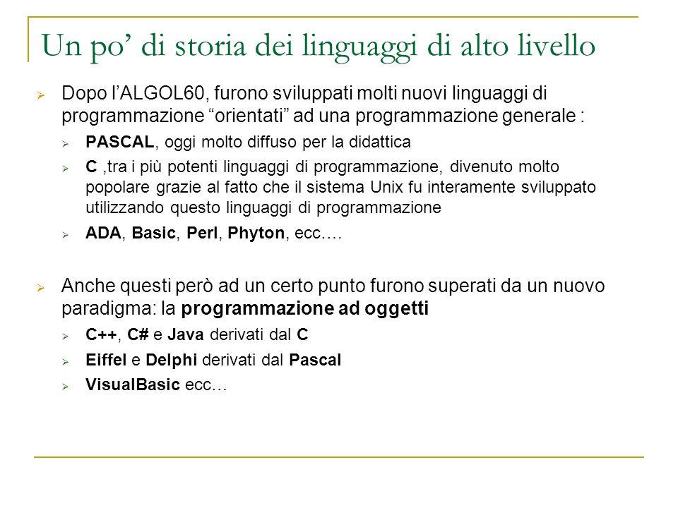 Un po' di storia dei linguaggi di alto livello