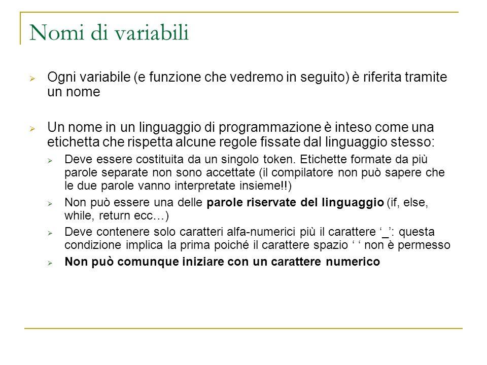 Nomi di variabili Ogni variabile (e funzione che vedremo in seguito) è riferita tramite un nome.