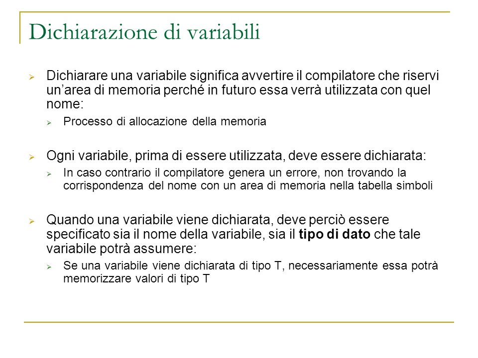 Dichiarazione di variabili