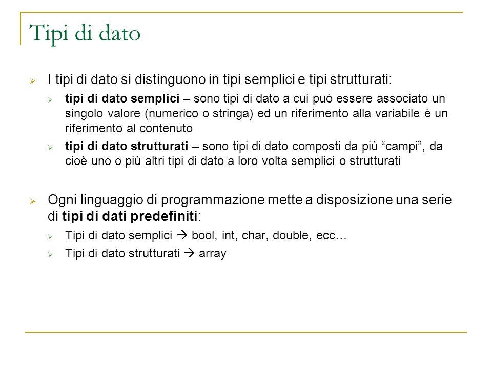 Tipi di dato I tipi di dato si distinguono in tipi semplici e tipi strutturati: