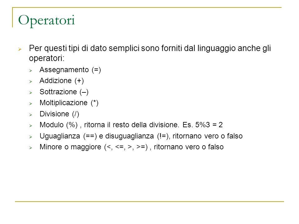Operatori Per questi tipi di dato semplici sono forniti dal linguaggio anche gli operatori: Assegnamento (=)