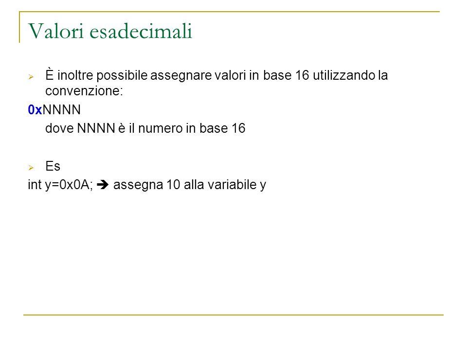 Valori esadecimali È inoltre possibile assegnare valori in base 16 utilizzando la convenzione: 0xNNNN.