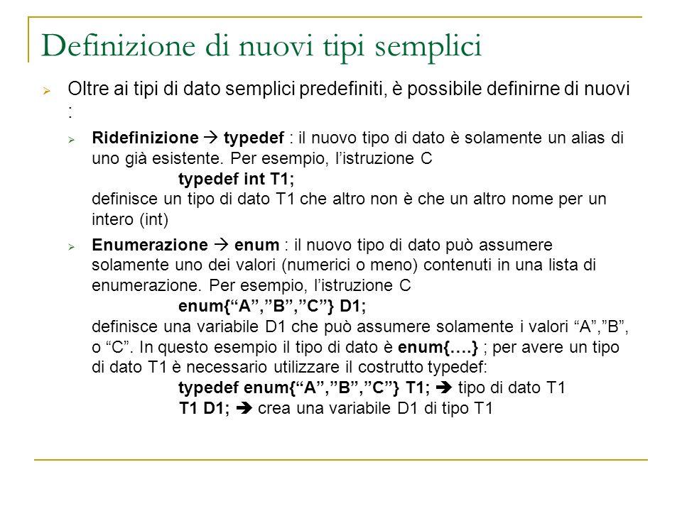 Definizione di nuovi tipi semplici
