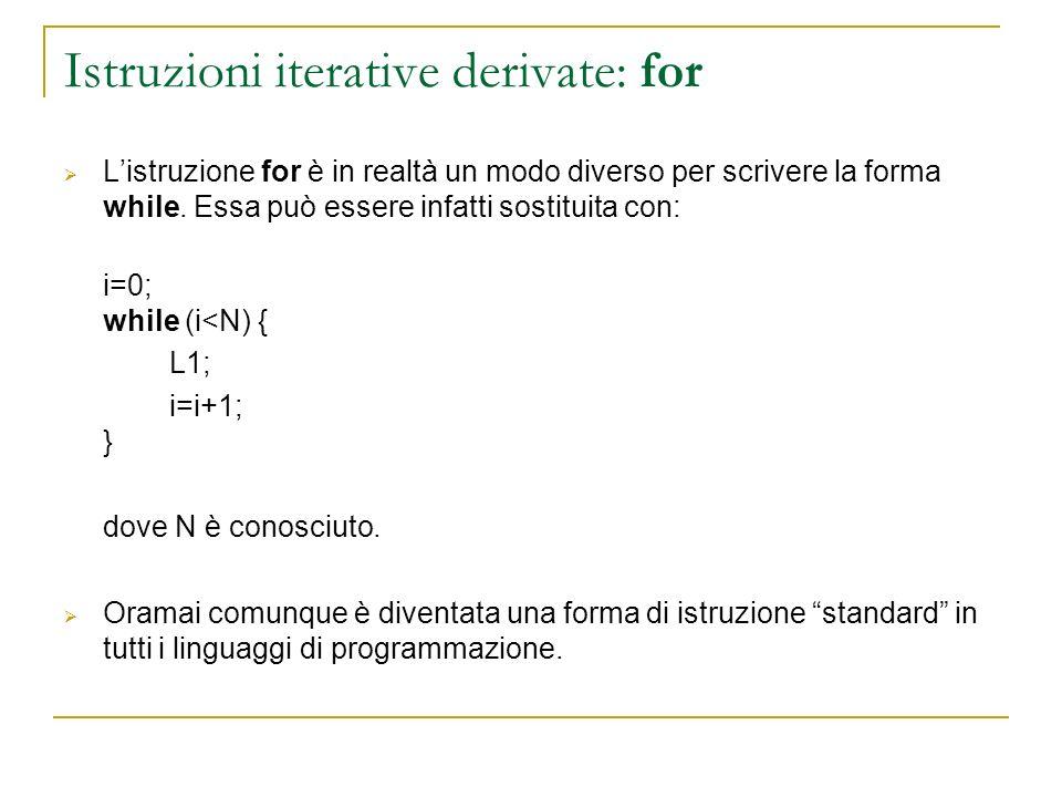 Istruzioni iterative derivate: for
