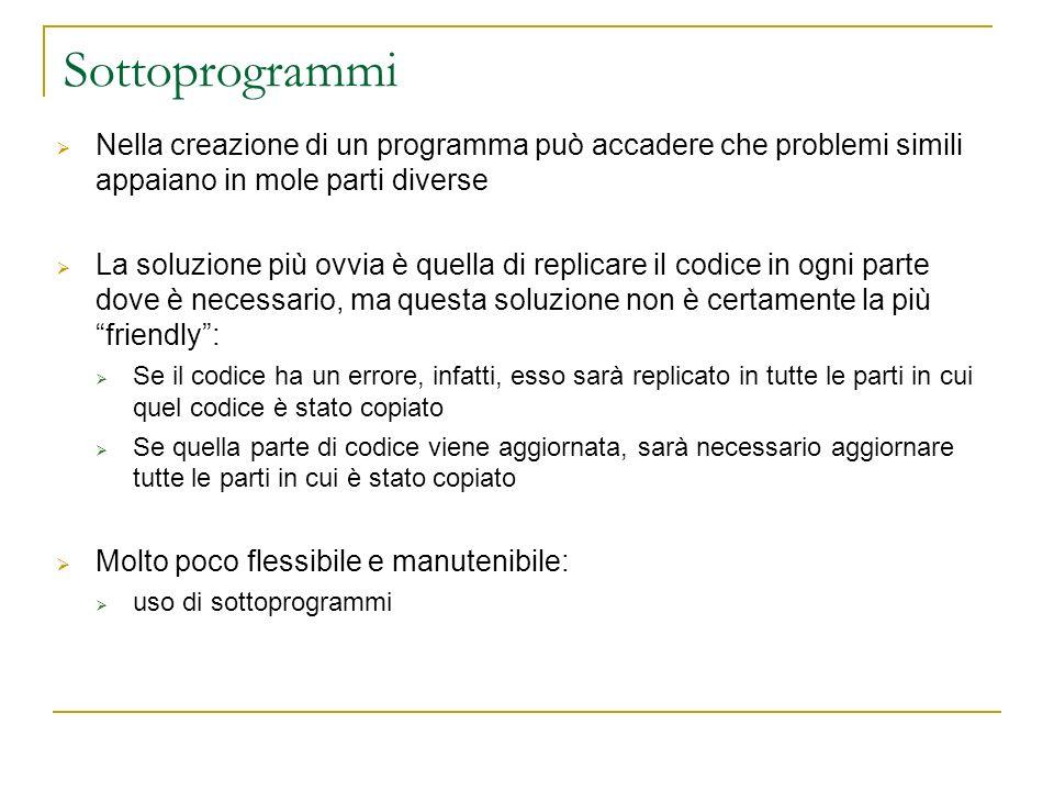Sottoprogrammi Nella creazione di un programma può accadere che problemi simili appaiano in mole parti diverse.