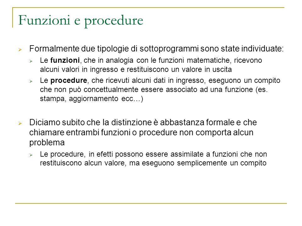 Funzioni e procedure Formalmente due tipologie di sottoprogrammi sono state individuate: