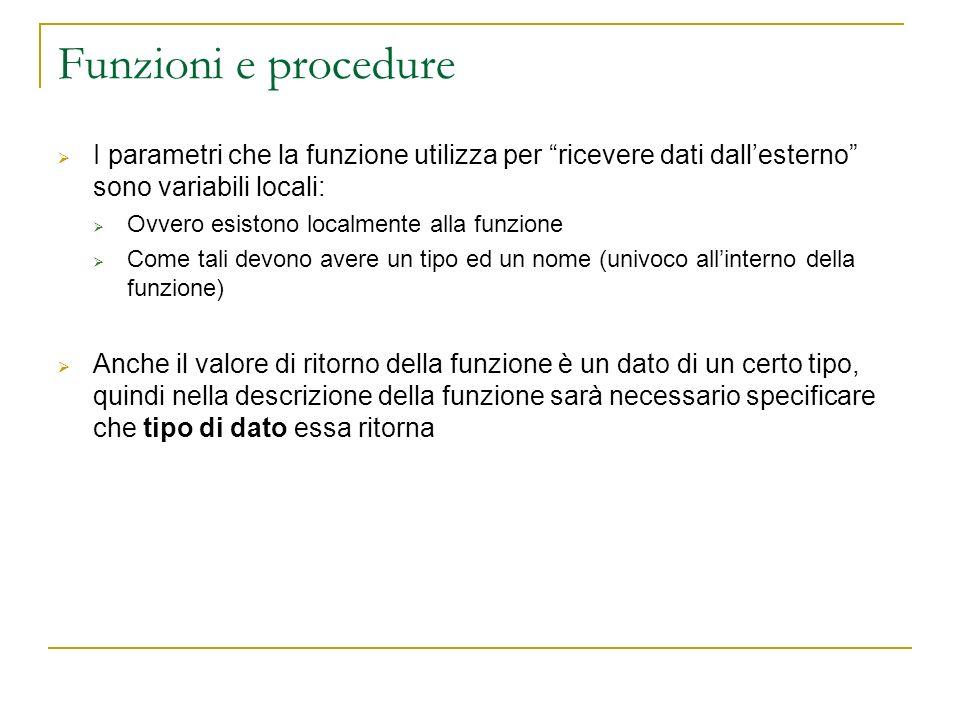 Funzioni e procedure I parametri che la funzione utilizza per ricevere dati dall'esterno sono variabili locali: