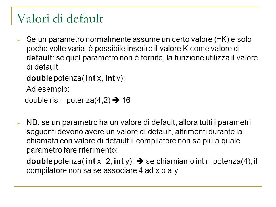 Valori di default