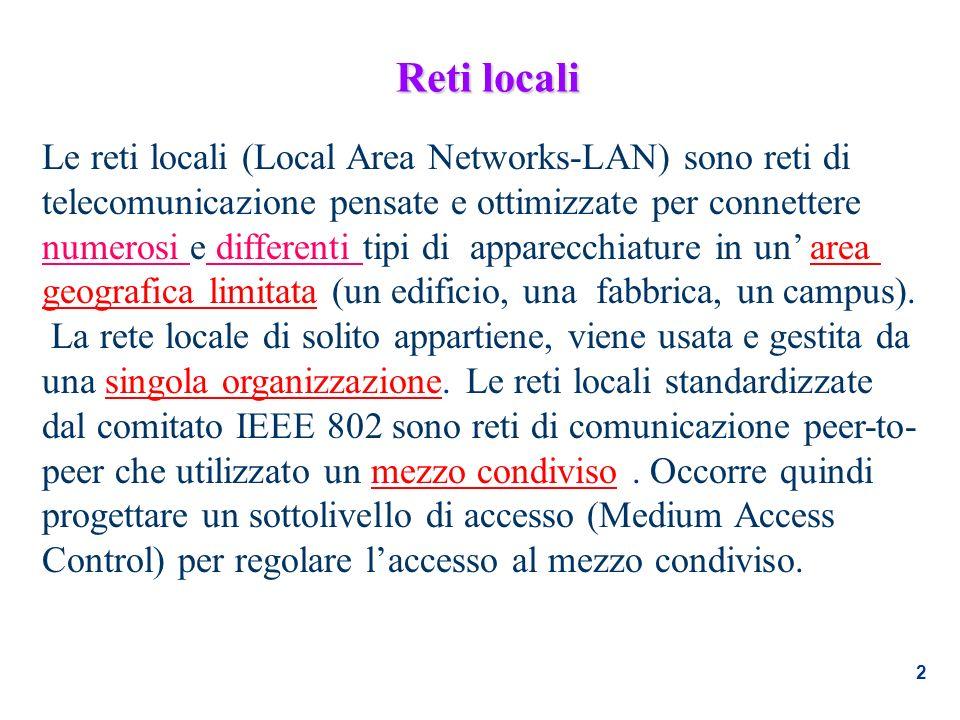 Reti locali Le reti locali (Local Area Networks-LAN) sono reti di