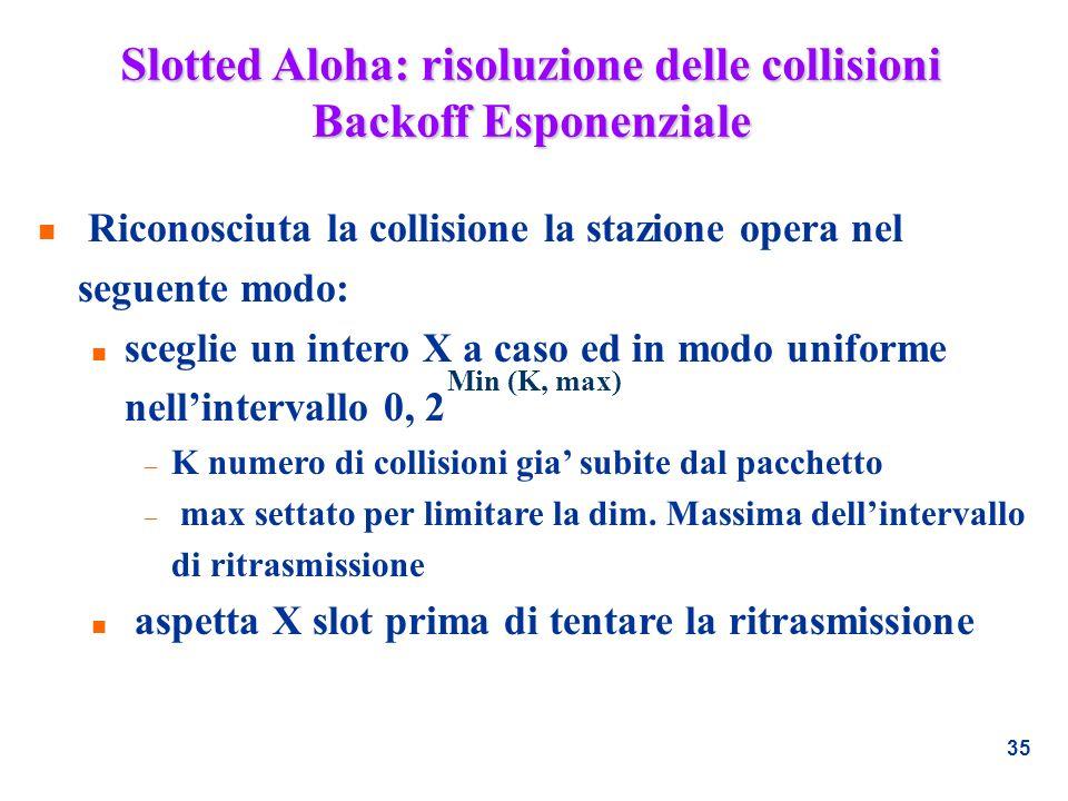Slotted Aloha: risoluzione delle collisioni Backoff Esponenziale