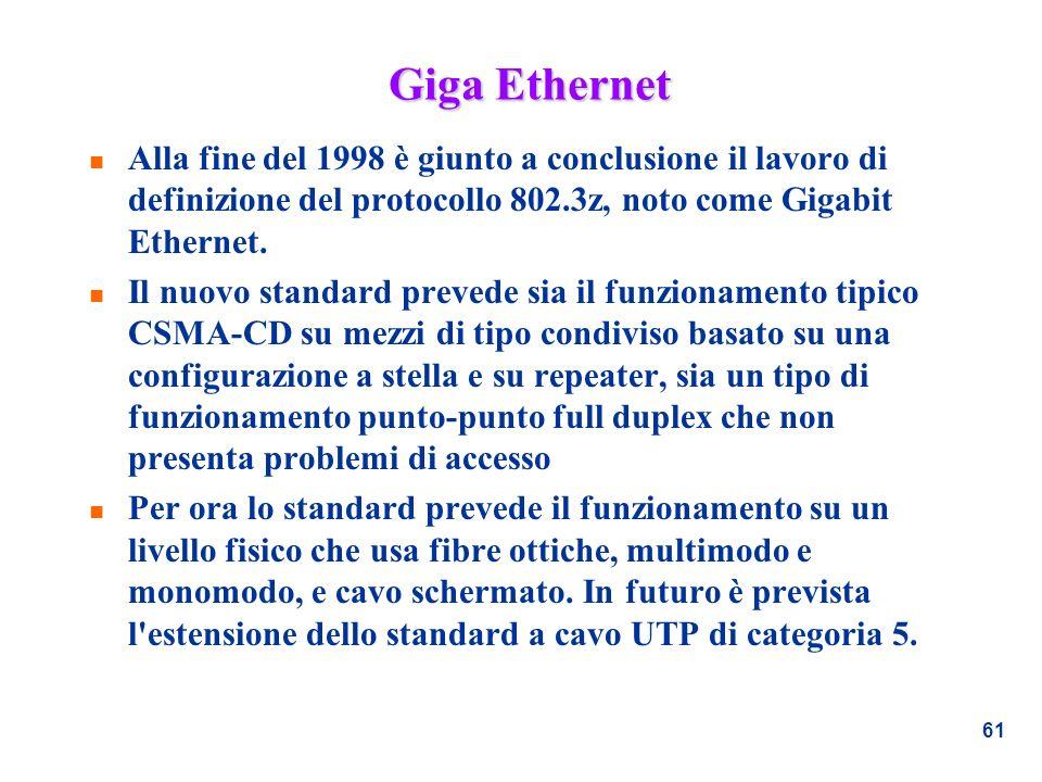 Giga Ethernet Alla fine del 1998 è giunto a conclusione il lavoro di definizione del protocollo 802.3z, noto come Gigabit Ethernet.