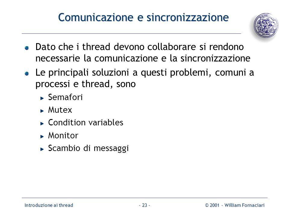 Comunicazione e sincronizzazione