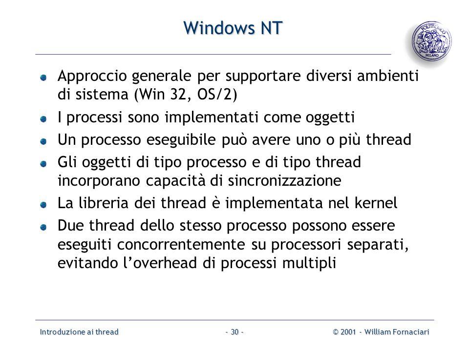 Windows NT Approccio generale per supportare diversi ambienti di sistema (Win 32, OS/2) I processi sono implementati come oggetti.