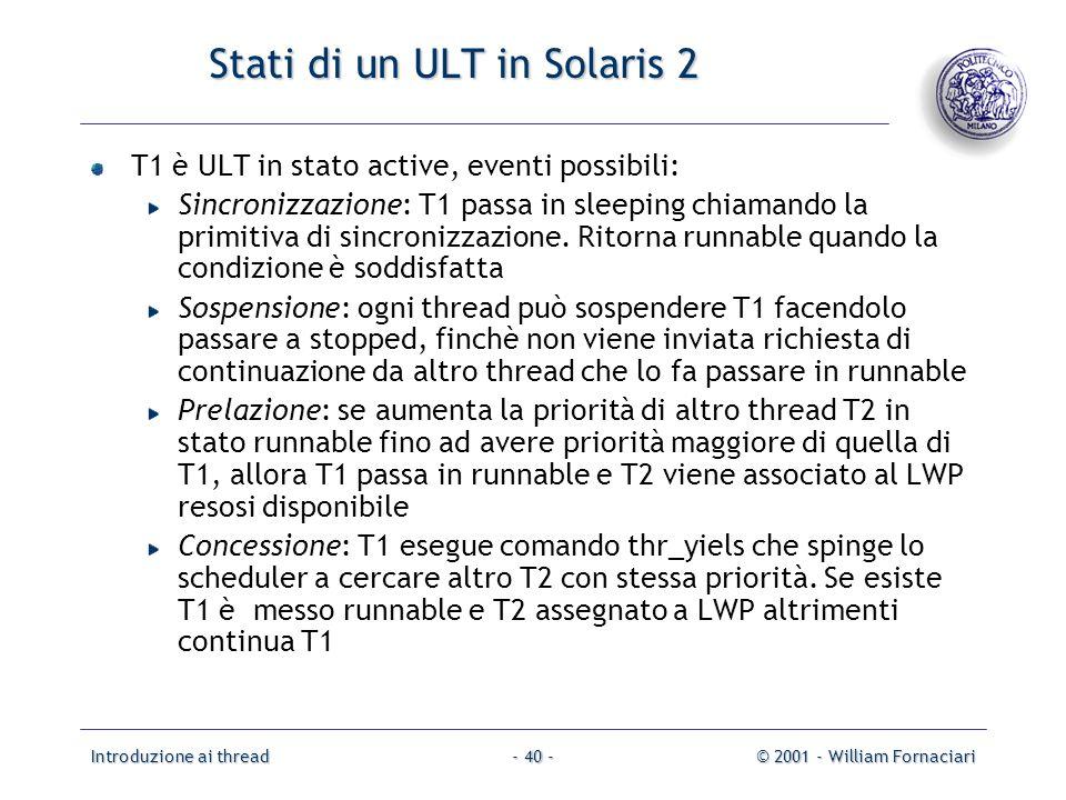 Stati di un ULT in Solaris 2