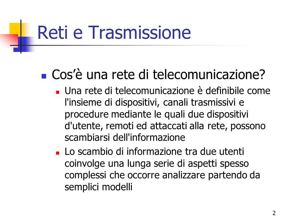 Reti e Trasmissione Cos'è una rete di telecomunicazione