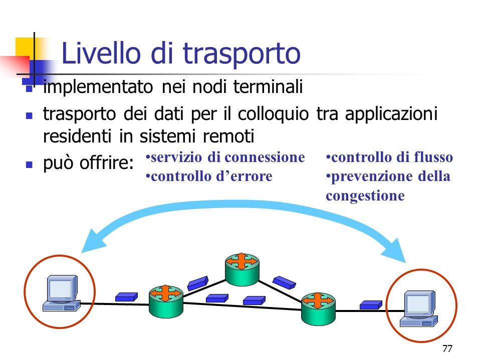 Livello di trasporto implementato nei nodi terminali
