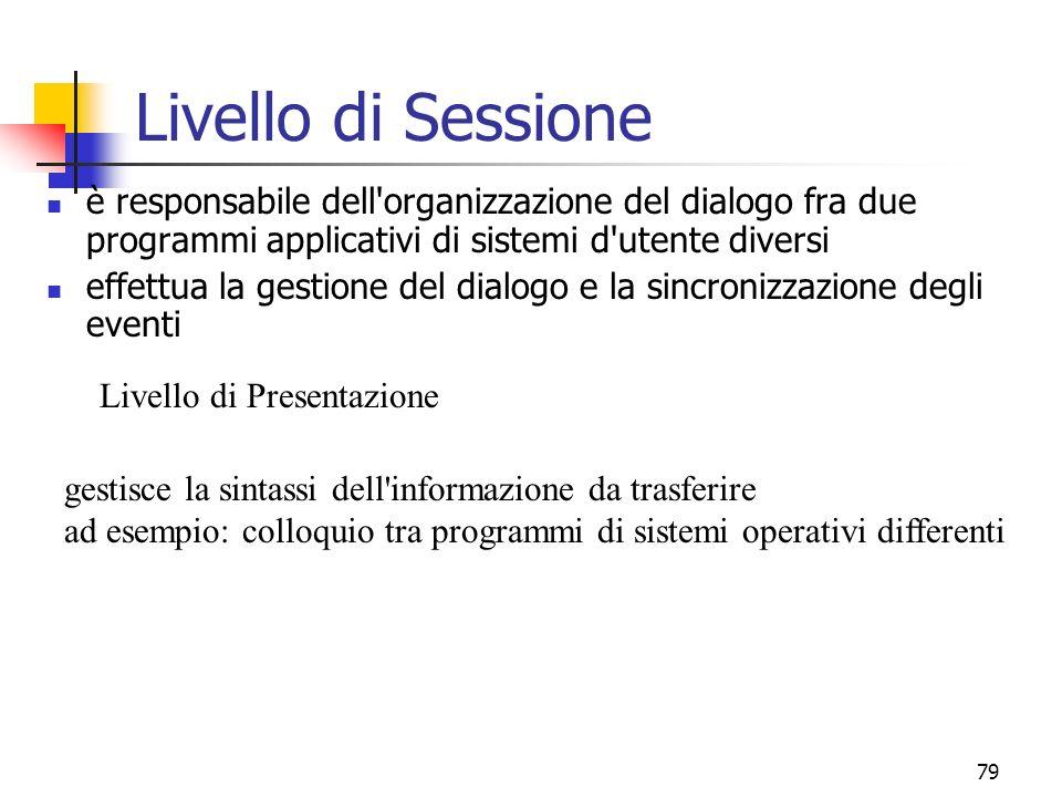 Livello di Sessione è responsabile dell organizzazione del dialogo fra due programmi applicativi di sistemi d utente diversi.