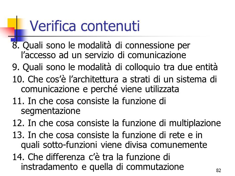 Verifica contenuti 8. Quali sono le modalità di connessione per l'accesso ad un servizio di comunicazione.