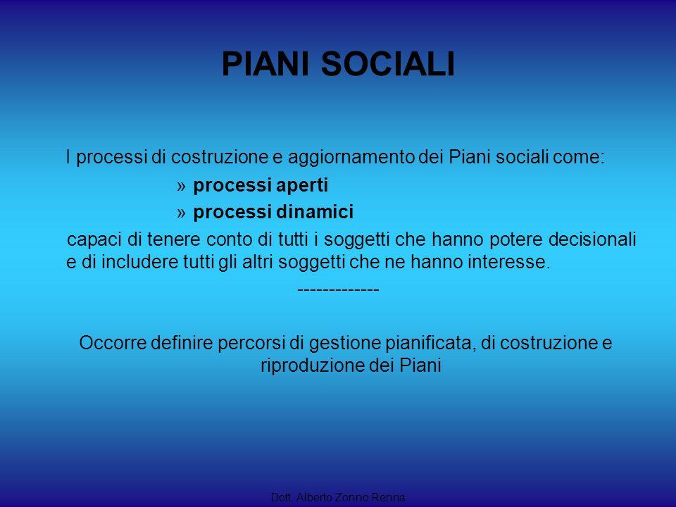 PIANI SOCIALI I processi di costruzione e aggiornamento dei Piani sociali come: processi aperti. processi dinamici.