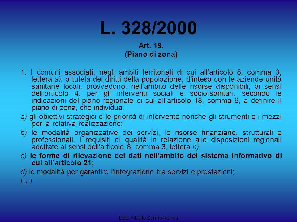 L. 328/2000 Art. 19. (Piano di zona)