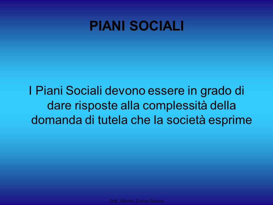PIANI SOCIALI I Piani Sociali devono essere in grado di dare risposte alla complessità della domanda di tutela che la società esprime.