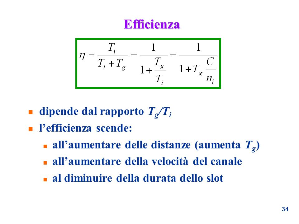 Efficienza dipende dal rapporto Tg/Ti l'efficienza scende: