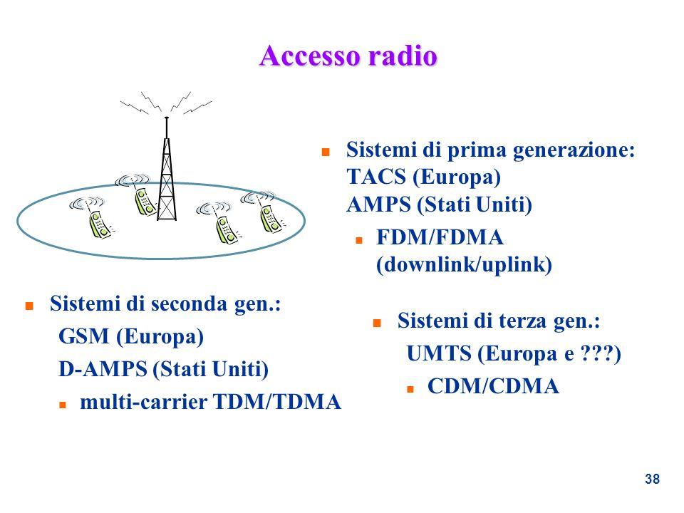 Accesso radio Sistemi di prima generazione: TACS (Europa) AMPS (Stati Uniti) FDM/FDMA (downlink/uplink)
