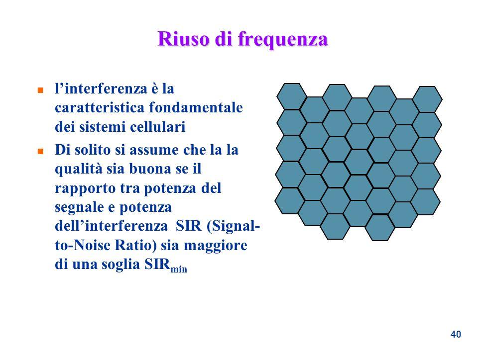 Riuso di frequenza l'interferenza è la caratteristica fondamentale dei sistemi cellulari.