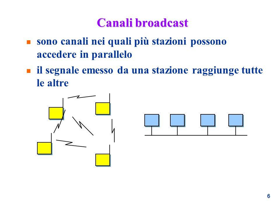 Canali broadcast sono canali nei quali più stazioni possono accedere in parallelo.